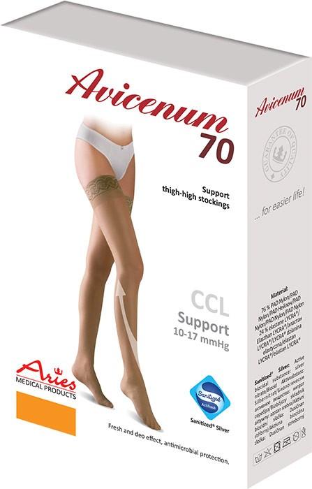 Podpůrné stehenní punčochy Avicenum 70, Sanitized, samodržící krajka