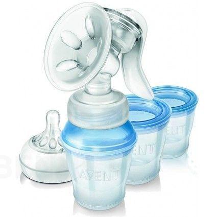 Odsávačka mateřského mléka Avent Natural s s pohárky pro skladování mléka